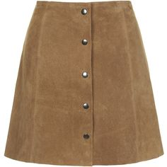 TOPSHOP Suede Button Front A-Line Skirt (£92) ❤ liked on Polyvore featuring skirts, bottoms, saias, faldas, tan, topshop skirts, brown a line skirt, brown suede skirt, suede skirt y topshop