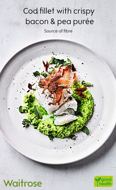 Light and flaky, our cod fillet is ready in only 20 minutes. Serve on a bed of pea purée with a rasher of crispy bacon. Finish with a scatter of mint leaves. See the recipe on the Waitrose website.