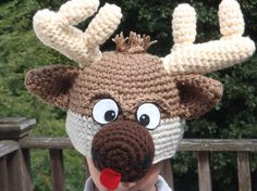 Reindeer hat  cute and unique handmade character by theheadsaid, $36.00