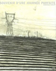 """by Dominique Goblet. """"To pretend is to lie/ souvenir."""" The stripes in the foreground give the drawing such a vertiginous feel - only to be dampened by that soft yellow sky and those utility poles that feel so steady and sure and somehow placid. Illustrations, Illustration Art, Grafic Novel, Yellow Sky, Easy Art Projects, Black And White Drawing, Book Cover Design, Art Techniques, Beautiful Landscapes"""