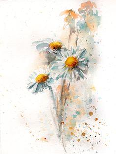Aquarelle originale, marguerites, peinture, Modern Art Illustration aquarelle