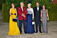 The Danish royals outside the palace garden at Fredenborg Palace just before the Red Cross anniversary gala dinner.