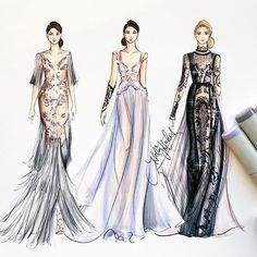 Reem Acra NYFW16, by Holly Nichols @hnicholsillustration