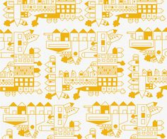 "140 gr. Fabric ""city"" yellow"