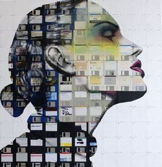 When was the last time you saw a floppy disk in use? Nick Gentry makes gorgeous portraits from outdated technology with his social art project that turns. Art And Illustration, Art Pop, Art Du Collage, St Martin, Floppy Disk, Social Art, Ouvrages D'art, Recycled Art, Art Design