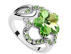 Mondaynoon Swarovski Elements Austrian Crystal Rings ,(Meaning:Love Plum)as a Gift for Women Size:6-7,Color:Olive (7)