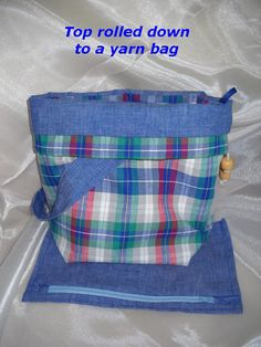 Knitting Bag or crochet tote; plaid cotton by Funtific