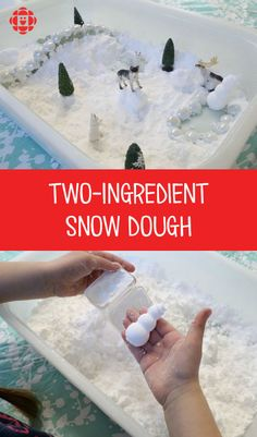 Sensory Play: Two-Ingredient Snow Dough Snow Activities, Toddler Learning Activities, Infant Activities, Christmas Activities, Baby Sensory, Sensory Activities, Sensory Play, Sensory Diet, Toddler Sensory Bins