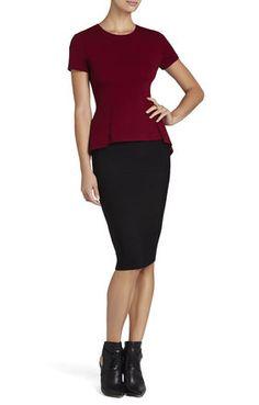 Red Scarlet Short-Sleeve Peplum Top BCBG $100 Gorgeous!
