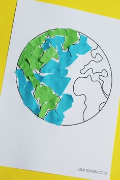 torn paper earth day craft for kids #kidscrafts #earthday #finemotor