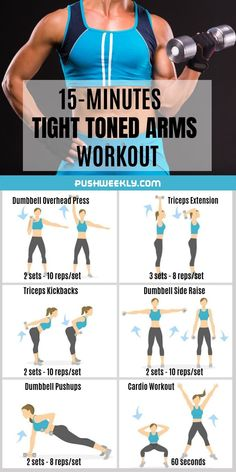 Toned arms workout at home to get rid of flabby arms. Lose arm fat fast with thi. Toned arms workout at home to get rid of flabby arms. Lose arm fat fast with this flabby arm workou Arm Workouts At Home, Body Workout At Home, Best Cardio Workout, Kettlebell Arm Workout, Workout Fitness, Pilates Workout, Workout Plans, Flabby Arm Workouts, Upper Body Workouts