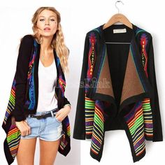 Women Casual Lapel Stripe Knitted Irregular Cardigan Sweater Coat Jacket Outwear