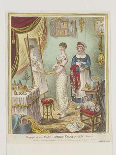 """Hand-coloured Etching and Stipple Engraving, """"Progress of the toilet - Dress completed - Plate by James Gillray published by Hannah Humphrey (active 26 February Jane Austen, James Gillray, Markova, Regency Era, National Portrait Gallery, Empire Style, Fashion Plates, British Museum, European Fashion"""