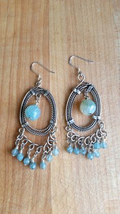 Artisan Faceted Blue Crackle Fire Agate, Candy Jade, and Matte Silver Filigree Pendant Dangle Earrings
