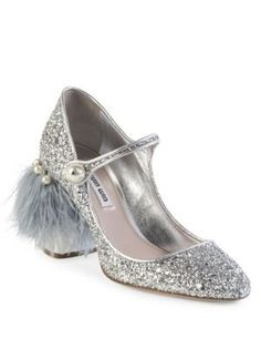MIU MIU Feather & Gliter Mary Jane Pumps. #miumiu #shoes #pumps