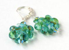 Trickle Lampwork Glass Bead Pierced Earrings SALE by SoClaudia, $14.00