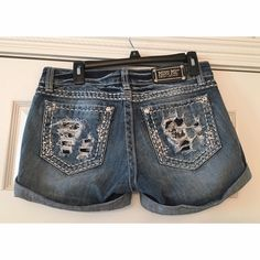 Miss Me Distressed and Bling Shorts So cute, in excellent condition, very comfortable!  Please comment with any questions!! Miss Me Shorts