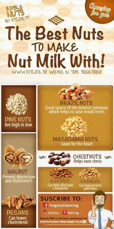 The Best Nuts to make Nut Milk! I gotta try some of these out. I have only had almond milk Nut Milk Recipe, Milk Recipes, Raw Food Recipes, Healthy Recipes, Vitamix Recipes, Clean Recipes, Food Tips, Diy Food, Cooking Tips