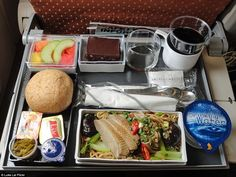 Singapore Airlines's economy class Chinese meal of noodles cooked with mushrooms and veget...