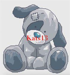 Modèle ourson chiot bleu enfant broderie point de croix PDF    Fiche PDF comprend :   - grille nette et facile a réaliser - grille couleurs et noir et blanc - liste des cou - 18785455