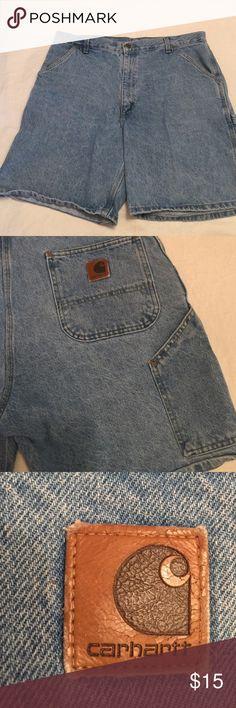 "Men's Carhartt Carpenter Shorts Faded Denim, 20"" long Carhartt Shorts Jean Shorts"