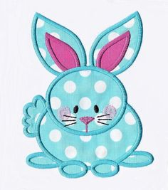 Cute Bunny with Tail Applique Design Instant by pinkfrogcreations
