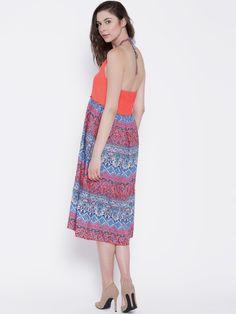 bc7b50b77 Buy Sera Women Orange Printed Midi Dress - Dresses for Women