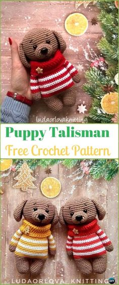 Crochet Puppy Talisman Amigurumi Free Pattern - Amigurumi Puppy Dog Stuffed Toy Patterns