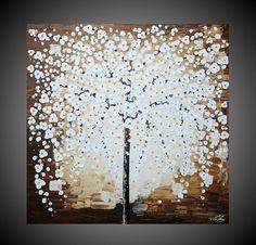 Contemporain Abstrait Acrylique Peinture Arbre Art par acrylkreativ