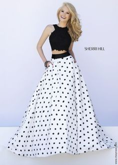 Sherri Hill 32215 - 2PC Black Lace Crop Top with White and Black Polkadot Ball Gown Skirt - Prom 2015 at RissyRoos.com