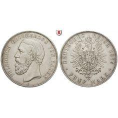 Deutsches Kaiserreich, Baden, Friedrich I., 5 Mark 1875, ohne Querstrich im A., G, ss, J. 27F: Friedrich I. 1852-1907. 5 Mark 1875… #coins