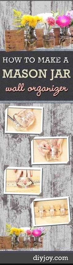 Unbelievable DIY Rustic Home Decor on a Budget | Storage Solutions for the Home | Mason Jar DIY Wall Organizer | DIY Projects and Crafts by DIY JOY at diyjoy.com/…  The post  DIY Rustic Home Decor o ..