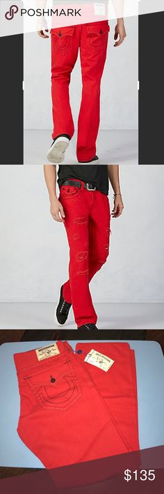 New Auth True Religion straights men's jeans 34 New with tags Authentic True Religion straights men's red factory distressed denim jeans 34. Waist 19.5 inches flat inseam is 33 inches True Religion Jeans Straight