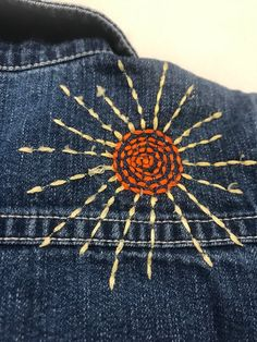 Great Free of Charge Vintage embellished embroidered BoHo kids gap Jean jacket months Suggestions Denim Jacket Embroidery, Embroidery On Clothes, Embroidery Works, Cute Embroidery, Embroidered Clothes, Hand Embroidery Stitches, Embroidery Patterns, Jean Embroidery, Diy Embroidered Jeans