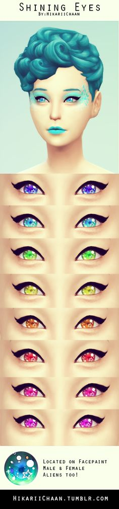 hikariichaan:  ✖;; [New] Shining Eyes By Me!♡My very first eyes, i hope you like them♥Tag me if you use them <3♡To see alien Ver, search in all alien makeup-Download-