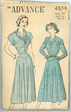 Vintage Advance Pattern 4856 - ca. 1948 - Women's Dress Size 12 Bust 30 Hip 33 by SadieJeanVintage on Etsy