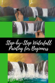 Waterfall Step by Step Acrylic Painting Tutorial for Beginners   Easy Tutorial + Full Art Course