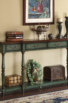 4 Drawer Console Table - Able Lake Brown