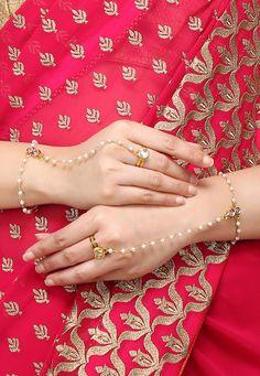 Buy Kundan Adjustable Hath Phool Set in White and Golden online, work: Kundan, color: Gold / White, usage: Wedding, category: Jewelry, fabric: Others, price: $38.66, item code: JJR13198, gender: women, brand: Utsav