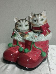 Fitz & Floyd Claus and Paws Christmas Cookie Jar Cat Kitten, Retired Very Rare