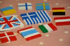 Hama/Perler bead flags, great for learning about geography or perhaps tie in to celebrating sports events by making the flags for each country