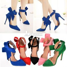 New Fashion Sexy Women Plus Size Big Bow Pointed High Heel Stilettos Shoes Pumps Wedding Party Evening Shoes