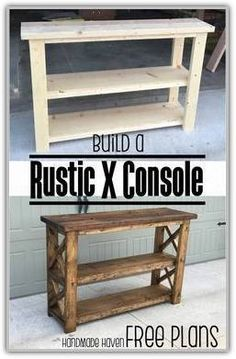 Easy Woodworking Projects - Rustic X Console - Cool DIY Wood Projects for Beginn. Easy Woodworking Projects – Rustic X Console – Cool DIY Wood Projects for Beginners – Easy Pr Kids Woodworking Projects, Wood Projects For Beginners, Woodworking Furniture, Diy Woodworking, Furniture Plans, Rustic Furniture, Woodworking Skills, Pallet Furniture, Modern Furniture
