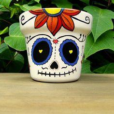 Vasinho caveira mexicana  www.terapip.com #artesaniasmexicanasdiy