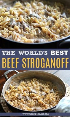 Beef Stroganoff I should warn you. This is the best beef stroganoff you will ever eat. Tender chunks of beef, creamy seasoned sour cream sauce and egg noodles. And if you make it you will instantly be addicted and want it all the time. Best Beef Stroganoff, Hamburger Stroganoff, Easy Ground Beef Stroganoff, Crock Pot Stroganoff, Leftover Steak Stroganoff Recipe, Beef Stroganoff Cream Cheese, Leftover Steak Recipes, Beef Mushroom Stroganoff, Beef Stroganoff