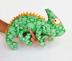 Chameleon soft toy kids Cotton blue stuffed animal woodland creatures Free shipping
