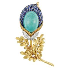 Two-Color Gold, Turquoise, Diamond and Sapphire Flower Clip-Brooch, Trio