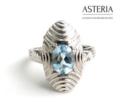 Silver Deco ring - Oval ring - Silver Topaz ring - Art Deco ring - Tribal ring - Topaz ring - December birthstone - pinned by pin4etsy.com