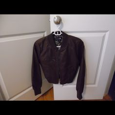 Forever 21 Faux leather jacket Brown faux leather jacket. Short in length. Never worn Forever 21 Jackets & Coats