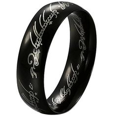 """Men's 6mm Titanium steel """"The Lords Of The Rings"""" Fashion Finger Rings Mordor Lord Style Smooth Black Size 9. Please check our offer of 2000s discount jewelry. Material: Titanium steel. Available sizes: 7,8,9,10,11,12. Including one black velvet bag printed """"MENSO""""."""